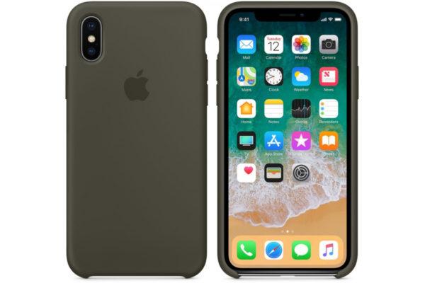 Силиконовые чехлы для Apple iPhone X/XS Silicone Case (dark olive, темно-оливковый)