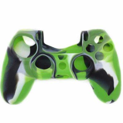Силиконовый чехол для геймпада DualShock 4 черно-зеленый
