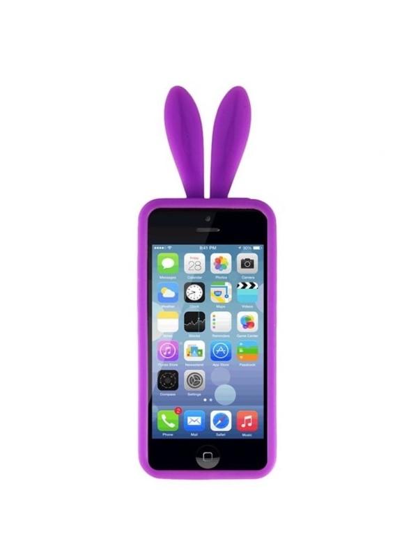 Силиконовые чехлы для Apple iPhone 4S Уши зайца (фиолетовый)
