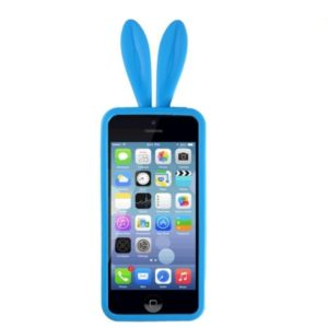 Силиконовые чехлы для Apple iPhone 4S Уши зайца (голубой)
