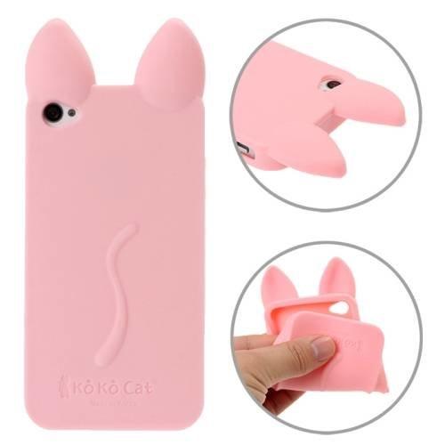 Силиконовые чехлы для Apple iPhone 4S KoKo Cat (Кошка розовый)