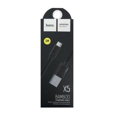 3A USB - Type C Hoco X5 Bamboo Cable 1m зарядный провод Черный
