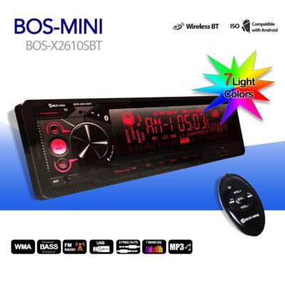 Автомагнитола BOS-MINI BOS-X2610SBT Bluetooth 7 цветов подсветки