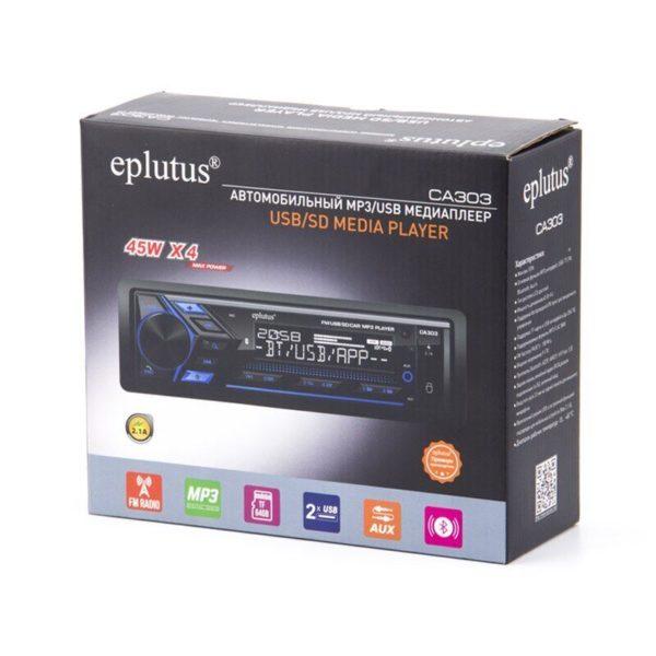 Автомагнитола Eplutus CA303, 1 Din, LED дисплеем, 45Wx4, 2.1A, 2xUSB, AUX, Bluetooth 5.0, 9-17V