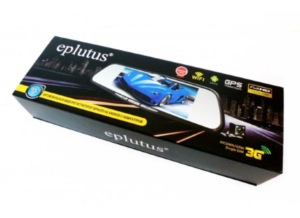 Автомобильный видеорегистратор с 2-мя камерами на базе Android с GPS и Wi-Fi Eplutus D30